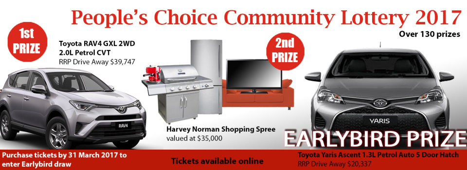 Orana, People's Choice Community Lottery, Toyota car prize, Toyota Rav4 first prize, Toyota Yaris early bird prize, New Car, Early bird prize, Orana Lottery